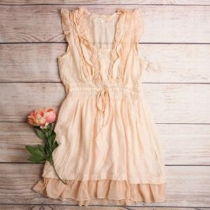 Blue Bird Gauzy Ruffle Dress in Blush Pink